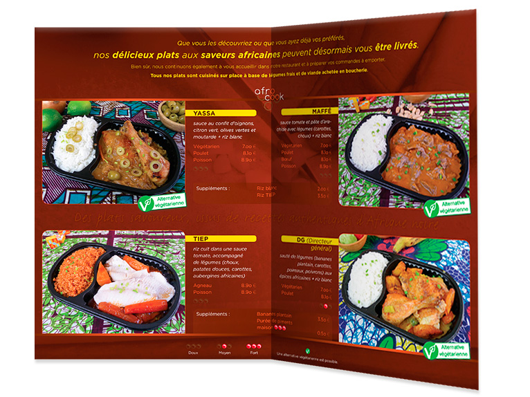 Brochure for Afrocook restaurant (Interior)