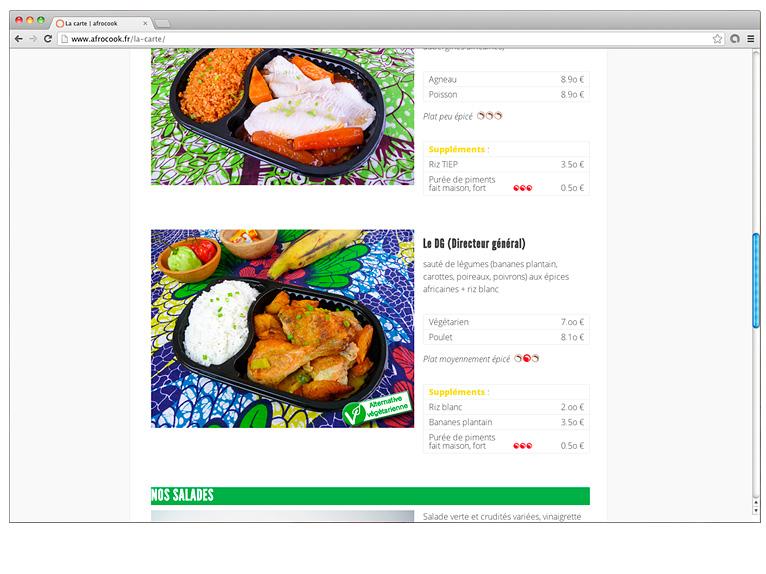 Website page 2 for Afrocook restaurant