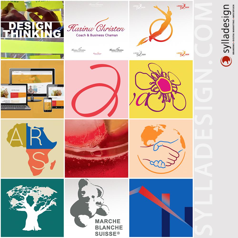 image d'illustration montrant une partie des visuels (logotype, photo-montage, site web...) que sylladesign a créé pour vous, nos clients